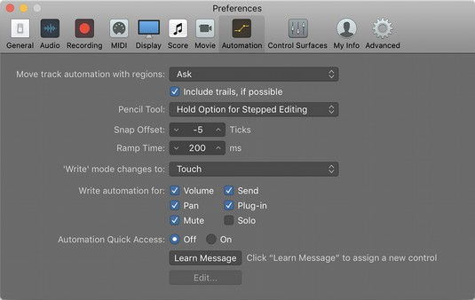 Logic Pro X automation preferences