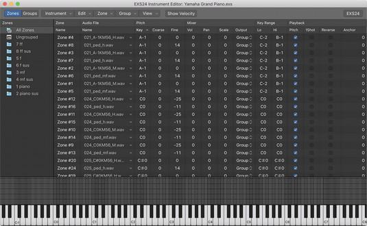 EXS24 instrument editor