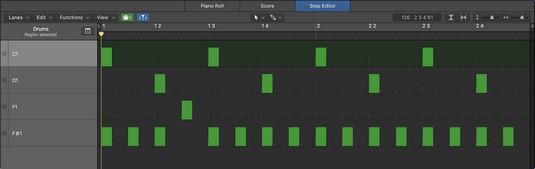 Logic Pro X step editor