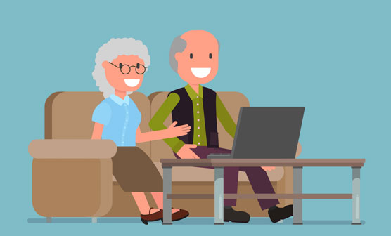 Seniors using a computer illustration
