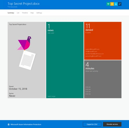 document-tracking site Azure Information Protection