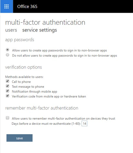 multifactor authentication setup Office 365
