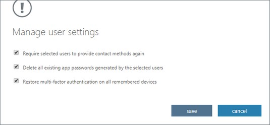 multifactor authentication user settings Office 365