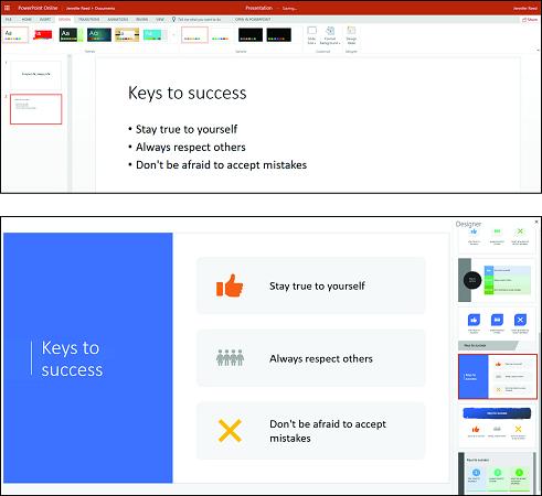 Microsoft 365 Business Deisgn Ideas feature in PowerPoint
