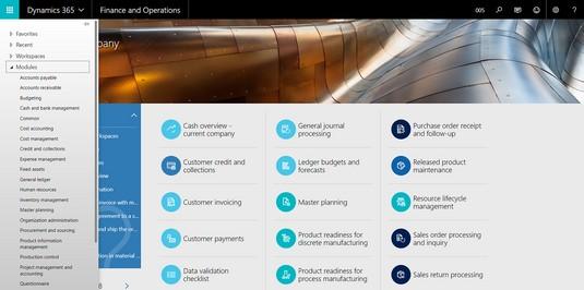 modules menu D365O