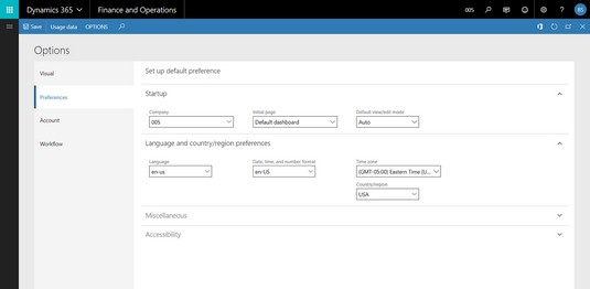 Dynamics 365 for Finance and Operations user preferences