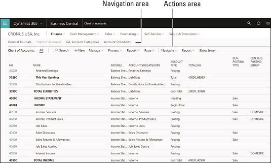 Business Central menu navigation