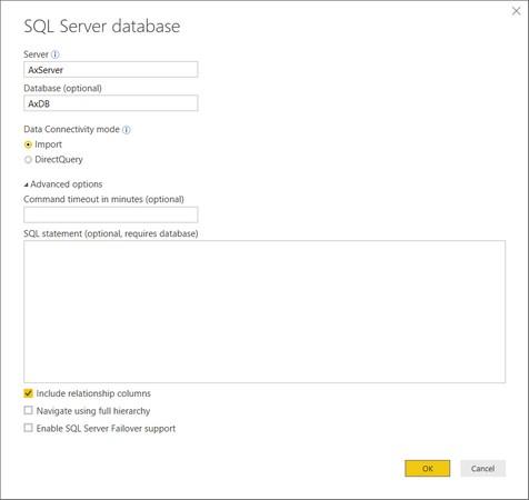 Power BI SQL connection