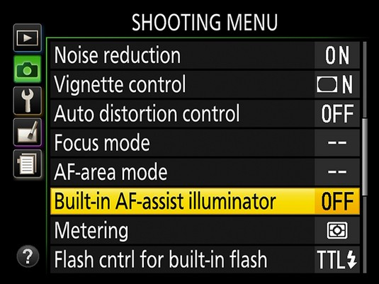 AF-assist lamp Nikon D3500