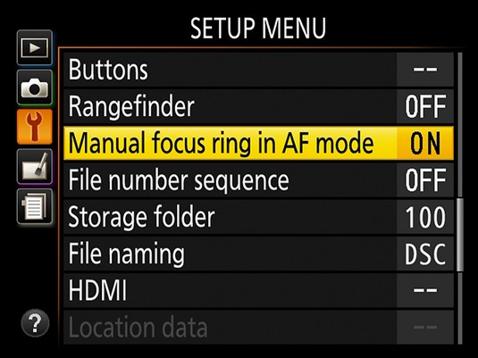 Manual focus menu Nikon D3500