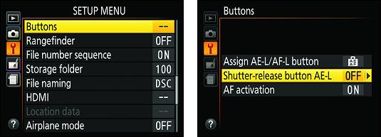 Buttons option list Nikon D3500