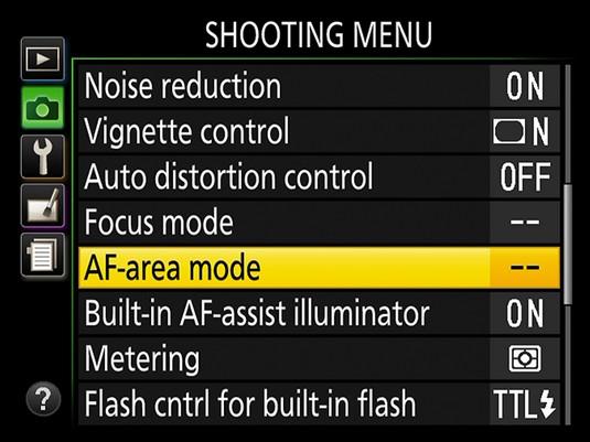 Access AF-area mode via Shooting menu Nikon D3500