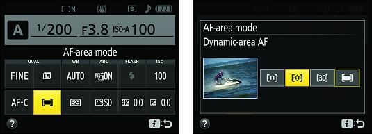 Access AF-area mode Nikon D3500