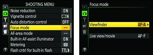 Shooting menu Nikon D3500