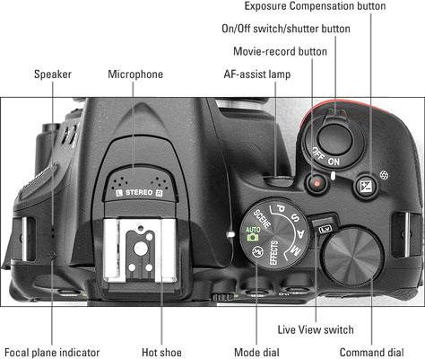 The Nikon D5600's External Topside Controls - dummies