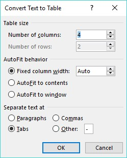 Convert Text to Table Word 2019