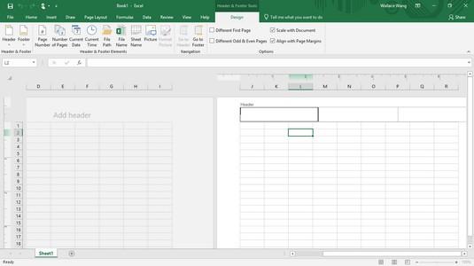 Design tab Excel 2019