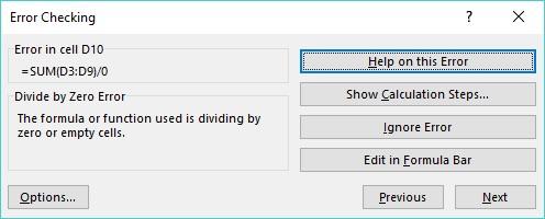 Excel errors