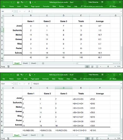 Excel formula results