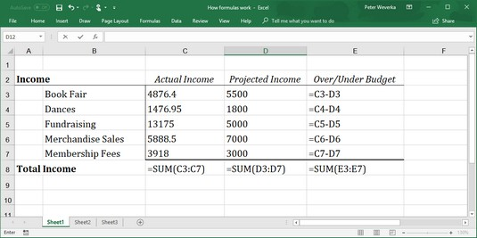 Excel formulas in worksheet