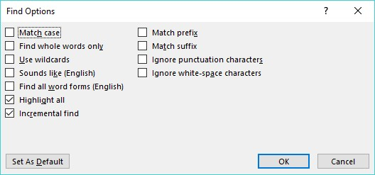 Find options Word 2019