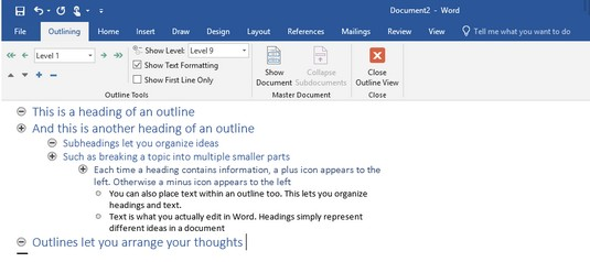 outline view Office 2019