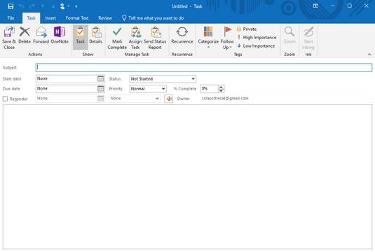 Outlook 2019 task window