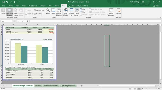 Page Layout view Excel 2019