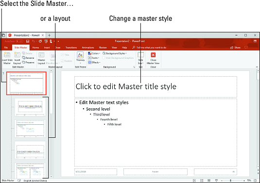 Slide Master view PowerPoint 2019