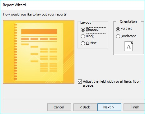 Access report wizard
