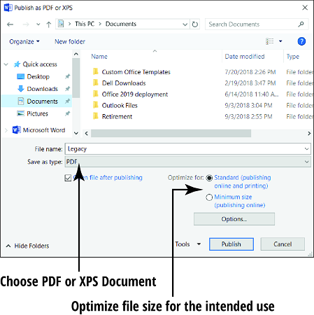 Office 2019 save file format