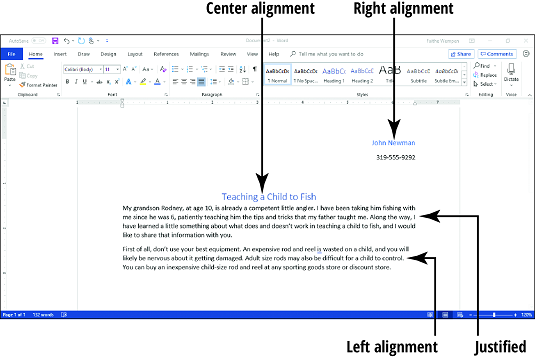 Word 2019 alignment
