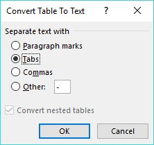 Convert Table to Text Word