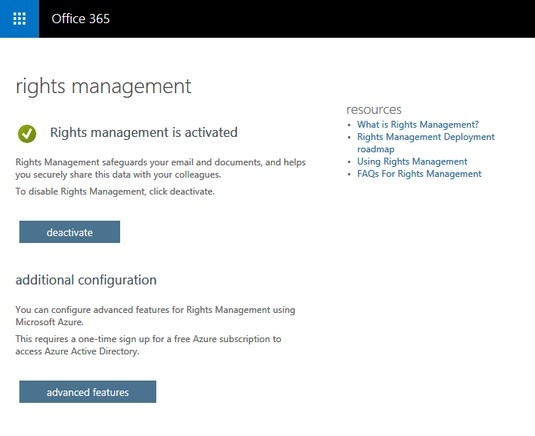 Office 365 rights management