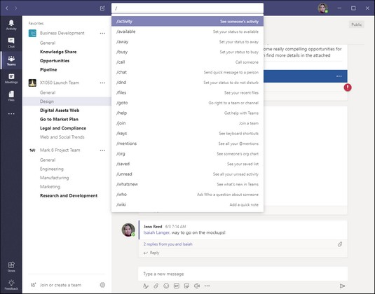 Microsoft Teams slash command shortcuts