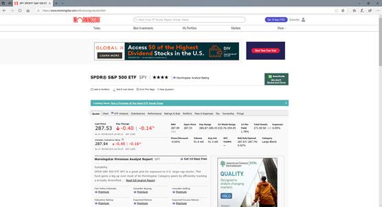 Morningstar ETF information page