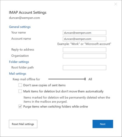 post-configuration changes Outlook 2019