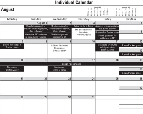 calendar for law office