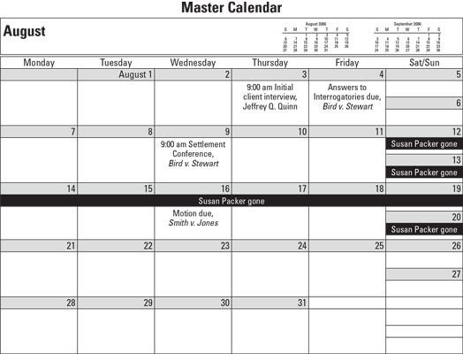 master calendar for paralegals