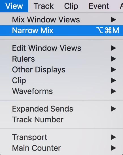 Mix window Pro Tools