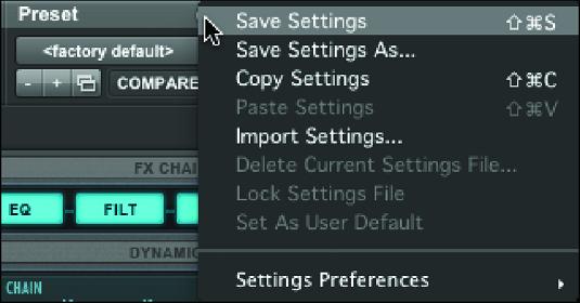 Pro Tools plug-in settings