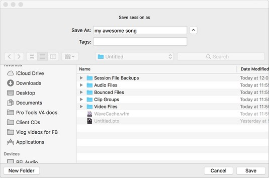 save session Pro Tools
