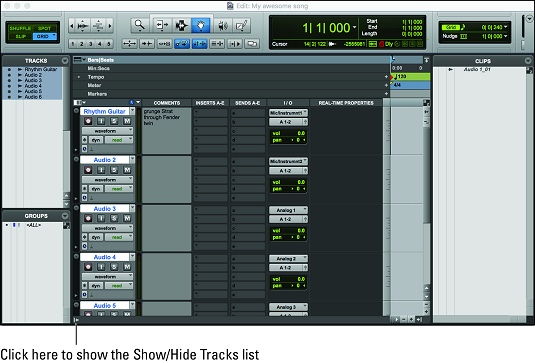 Show/Hide tracks list Pro Tools