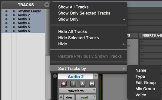 sort Pro Tools tracks