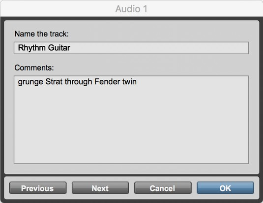 name Pro Tools track
