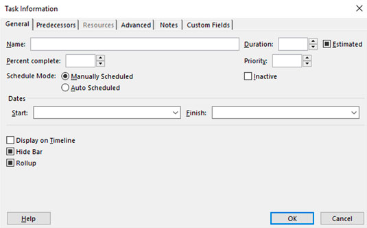 Project Task Info dialog