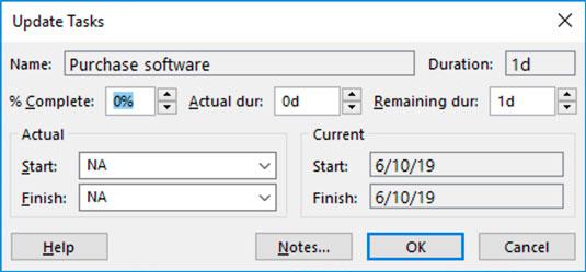Project Update tasks