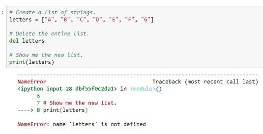delete Python list