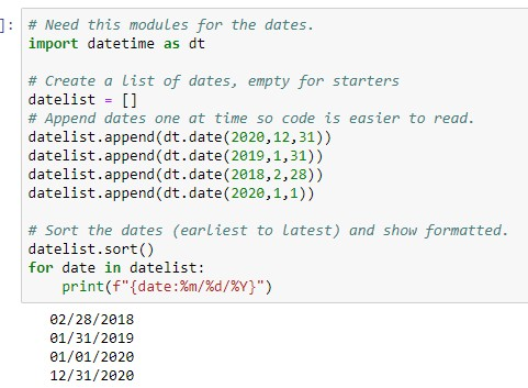 display dates in Python