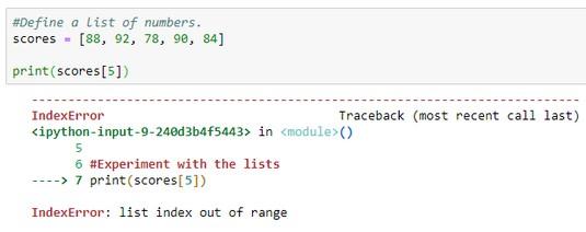 Python index range